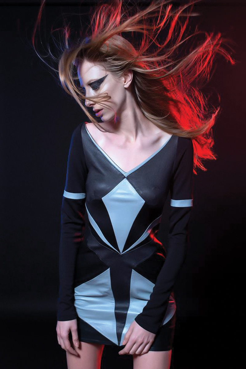 c96e201692 Geometric Black Leather Neoprene Dress